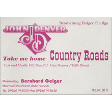 Country Roads - John Denver (A5-Format)
