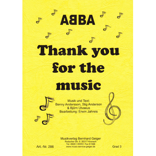 Thank you for the music - ABBA - Klavierbegleitung